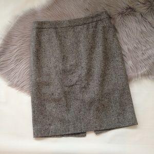 J. Crew heathered gray wool blend pencil skirt 6